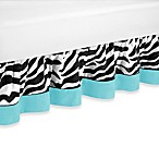 Sweet Jojo Designs Funky Zebra Queen Bed Skirt in Turquoise