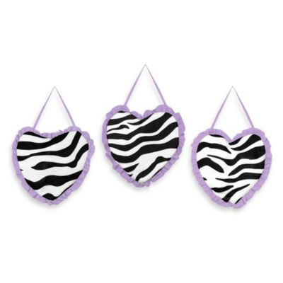 Sweet Jojo Designs Funky Zebra 3-Piece Wall Hanging Set in Purple