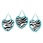 Sweet Jojo Designs Funky Zebra Wall Hangings in Turquoise