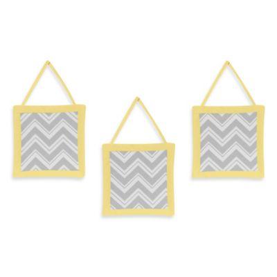 Sweet Jojo Designs Zig Zag 3-Piece Wall Hanging Set in Grey/Yellow