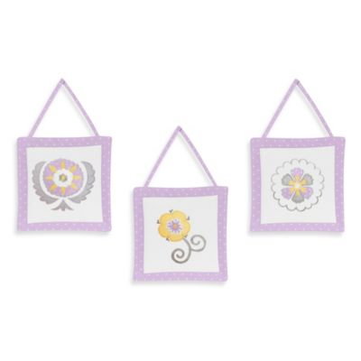 Sweet Jojo Designs Suzanna 3-Piece Wall Hanging Set in Lavender/White