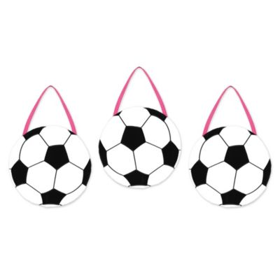 Sweet Jojo Designs Soccer Wall Hangings in Pink