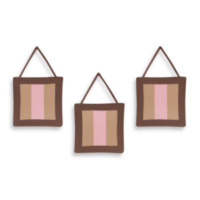 Sweet Jojo Designs Soho 3-Piece Wall Hanging Set in Pink/Brown