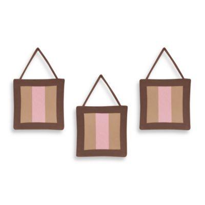 Sweet Jojo Designs Soho 3-Piece Wall Hanging Set in Pink/Brown