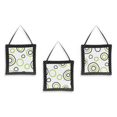 Sweet Jojo Designs Spirodot 3-Piece Wall Hanging Set in Lime/Black