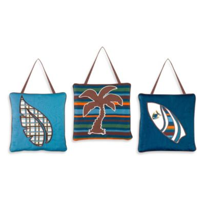 Sweet Jojo Designs Surf 3-Piece Wall Hanging Set in Blue/Brown