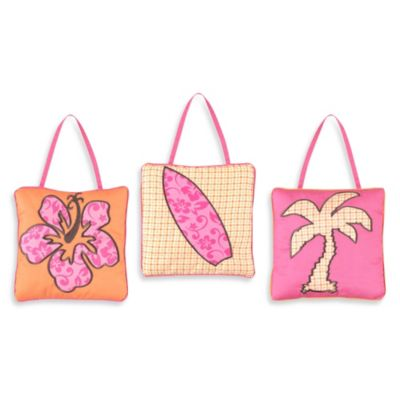 Sweet Jojo Designs Surf Wall Hangings in Pink/Orange (Set of 3)