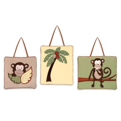 Sweet Jojo Designs Monkey Time 3-Piece Wall Hanging Set