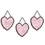 Sweet Jojo Designs French Toile and Polka Dot 3-Piece Wall Hanging Set in Pink/Brown