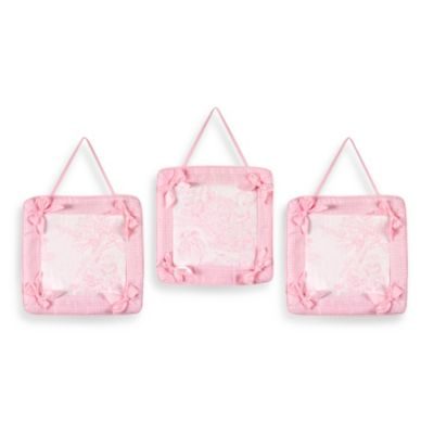 Sweet Jojo Designs French Toile 3-Piece Wall Hanging Set in Pink