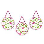 Sweet Jojo Designs Mod Circles 3-Piece Wall Hanging Set in Pink/Green