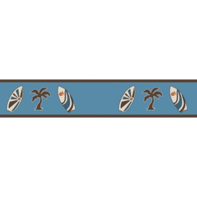 Sweet Jojo Designs Surf Wall Paper Border in Blue/Brown
