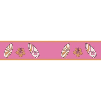 Sweet Jojo Designs Surf Wallpaper Border in Pink/Orange