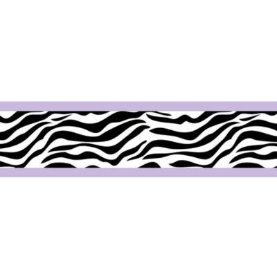 Sweet Jojo Designs Funky Zebra Wallpaper Border in Purple