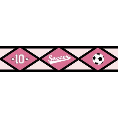 Sweet Jojo Designs Soccer Wallpaper Border in Pink