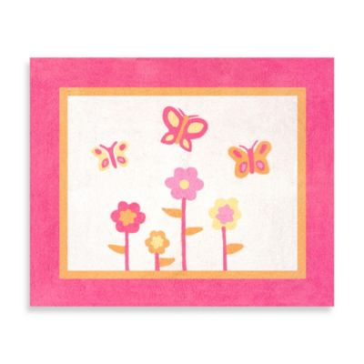 Sweet Jojo Designs Pink and Orange Butterfly 30-Inch x 36-Inch Rug