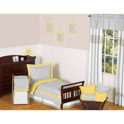 Sweet Jojo Designs Zig Zag Chevron 5-Piece Toddler Bedding Set in Grey/Yellow
