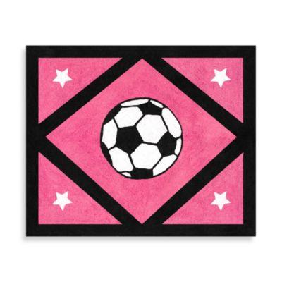 Sweet Jojo Designs Soccer Accent Floor Rug in Pink
