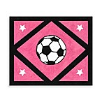Sweet Jojo Designs Soccer Accent Floor Rug in Pink