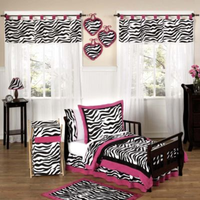 Sweet Jojo Designs Funky Zebra Toddler 5-Piece Bedding Set in Pink