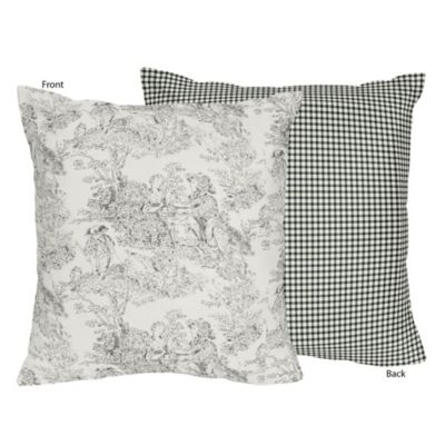 Sweet Jojo Designs French Toile Reversible Throw Pillow in Black/Cream