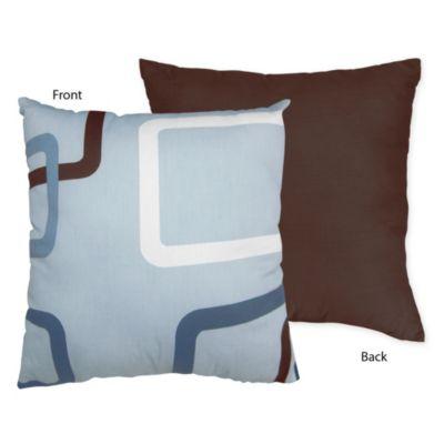 Sweet Jojo Designs Geo Reversible Throw Pillow in Blue/Brown