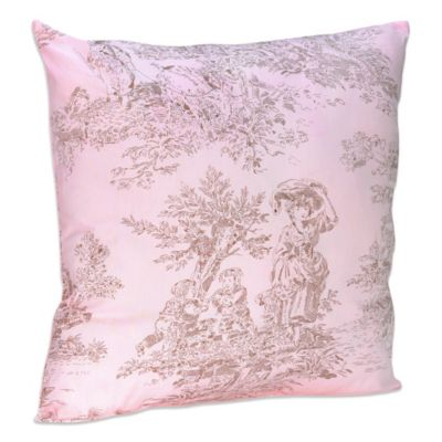 Sweet Jojo Designs French Toile and Polka Dot Decorative Toss Pillow in Pink/BrownToile