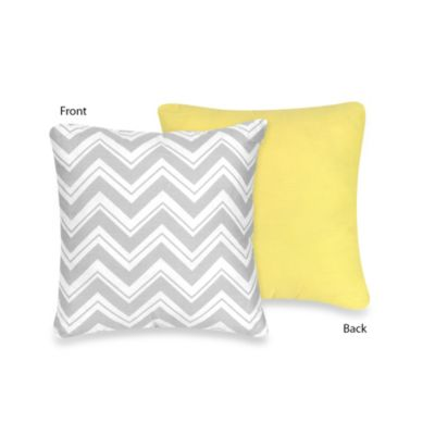 Sweet Jojo Designs Zig Zag Reversible Decorative Pillow in Yellow/Grey