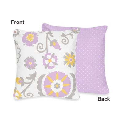 Sweet Jojo Designs Suzanna Decorative Throw Pillow in Lavender/White