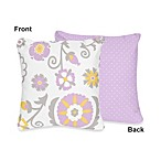 Sweet Jojo Designs Suzanna Decorative Accent Toss Pillow in Lavender/White