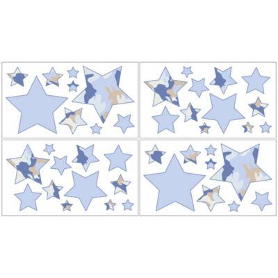 Sweet Jojo Designs Camo Wall Decal Stickers in Blue