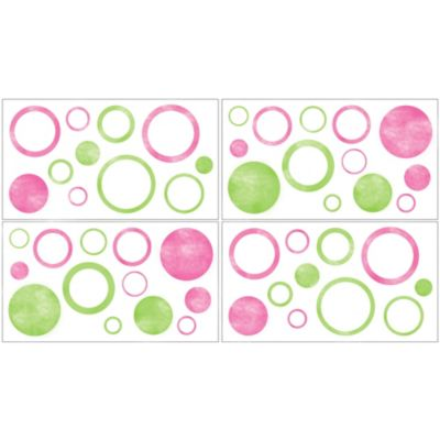 Sweet Jojo Designs Mod Circles Wall Decals in Pink/Green