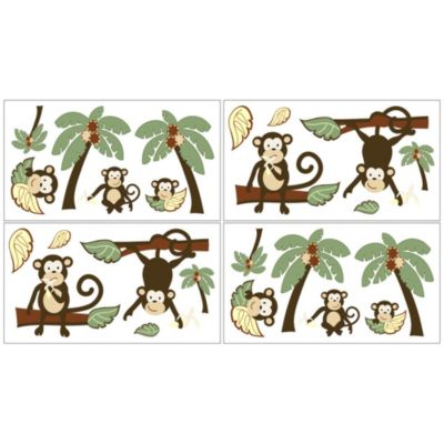 Sweet Jojo Designs Monkey Time Wall Decals (Set of 4)