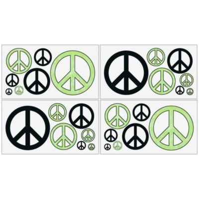 Sweet Jojo Designs Peace Out Wall Decal Stickers in Green