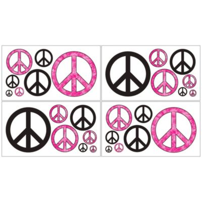 Sweet Jojo Designs Peace Out Wall Decal Stickers in Pink