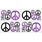 Sweet Jojo Designs Peace Out Wall Decals in Purple