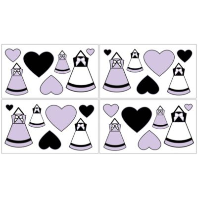 Sweet Jojo Designs Princess Wall Decals in Black/White/Purple (Set of 4)