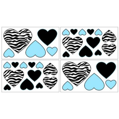 Sweet Jojo Designs Funky Zebra Decal in Turquoise