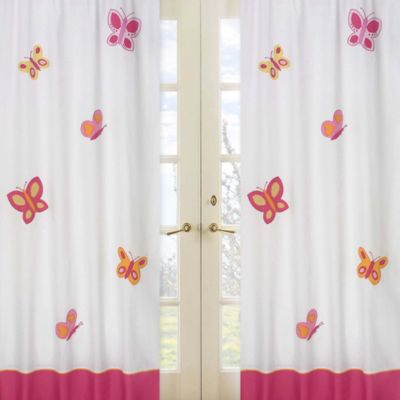 Sweet Jojo Designs Pink and Orange Butterfly 42-Inch x 84-Inch Window Panel Pair
