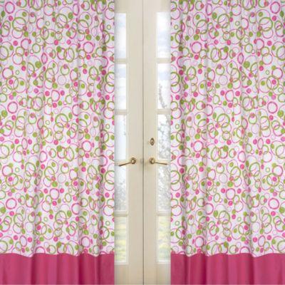 Sweet Jojo Designs Mod Circles Window Panel Pair in Pink/Green