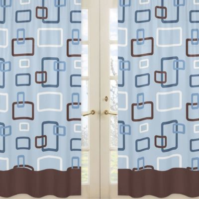 Sweet Jojo Designs Geo Window Panel Pair in Blue/Brown