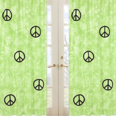 Sweet Jojo Designs Peace Out Window Panel Pair in Green