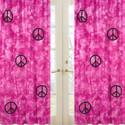 Sweet Jojo Designs Peace Out Window Panel Pair in Pink