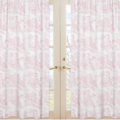French Toile Window Panel Pair in Pink