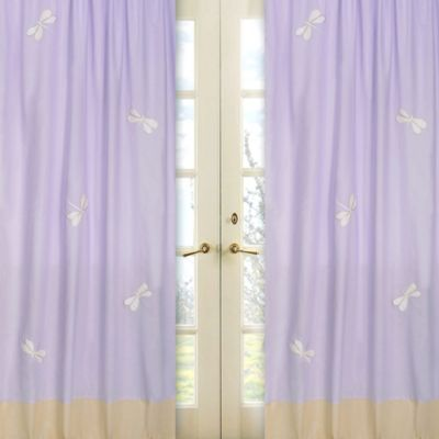 Sweet Jojo Designs Dragonfly Dreams Window Panel Pair in Purple
