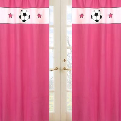 Sweet Jojo Designs Soccer Window Panel Pair in Pink