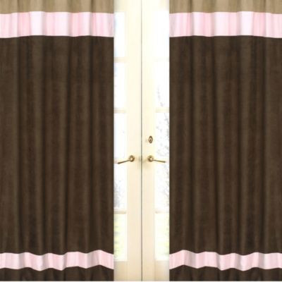 Sweet Jojo Designs Soho Window Panel Pair in Pink/Brown