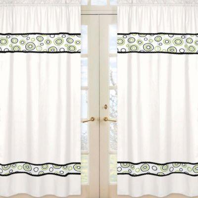 Sweet Jojo Designs Spirodot 42-Inch x 84-Inch Window Panels in Lime/Black