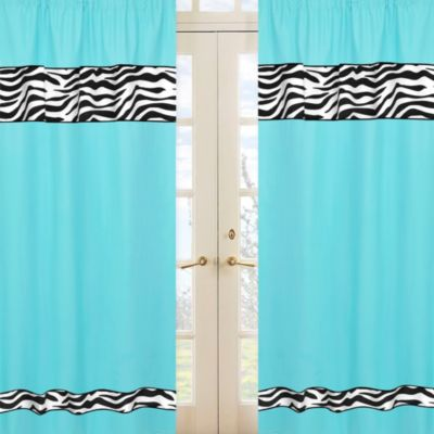 Sweet Jojo Designs Funky Zebra Window Panels in Turquoise