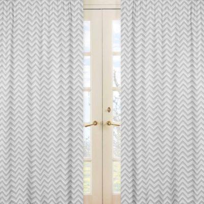 Sweet Jojo Designs Zig Zag Print Window Panel Pair in Grey/White